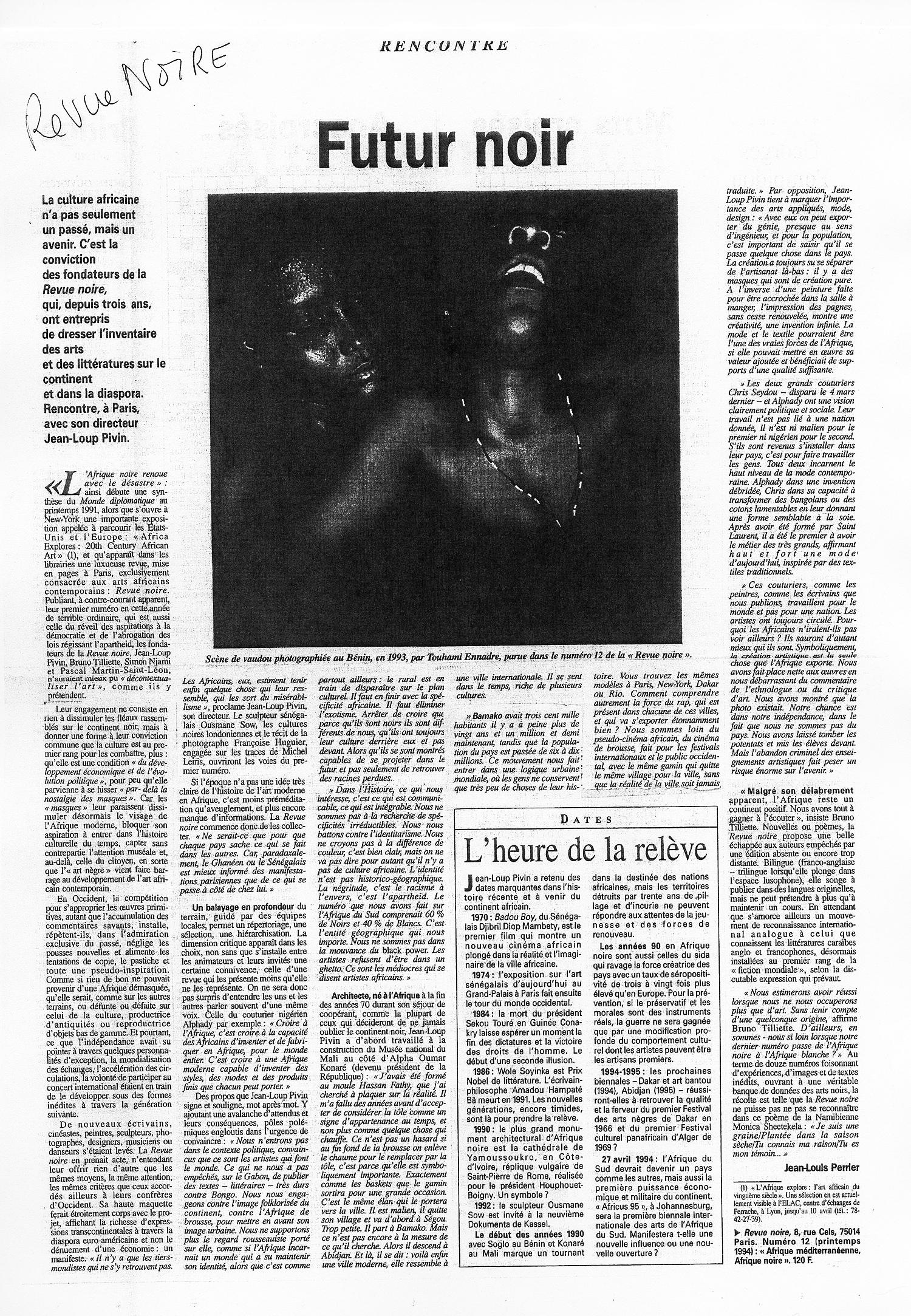 LeMonde-Avr1994-RevueNoire