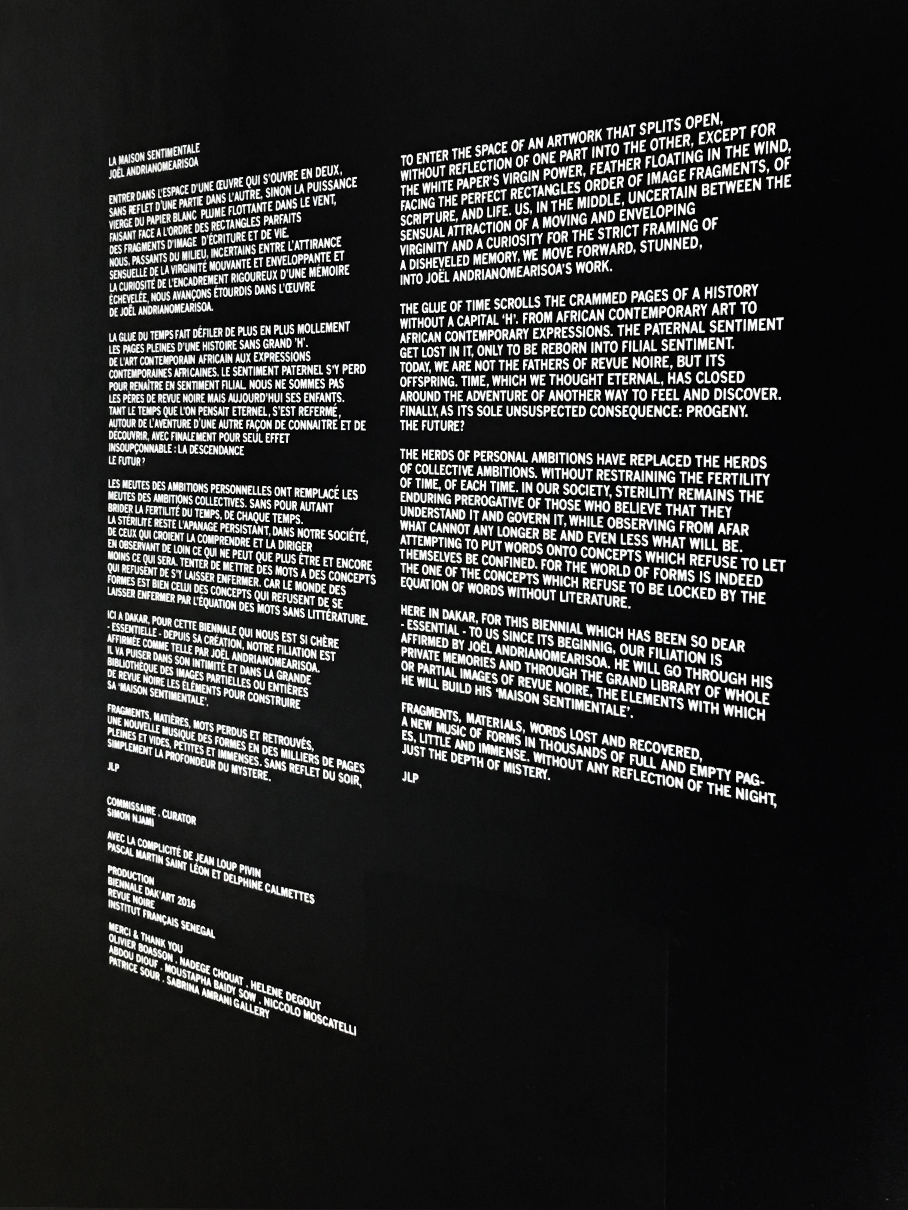 Introduction à l'installation 'La Maison Sentimentale' de Joël Andrianomearisoa, Biennale de Dakar 2016