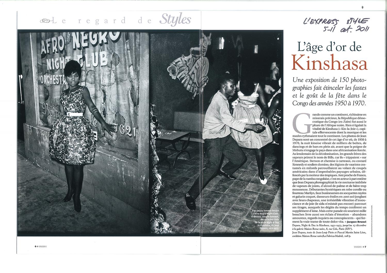 Revue Noire revue de presse: L'Express, octobre 2011 par Jacques Brunel. L'âge d'or de Kinshasa, les photos de Jean Depara, 1955-1965, RDCongo