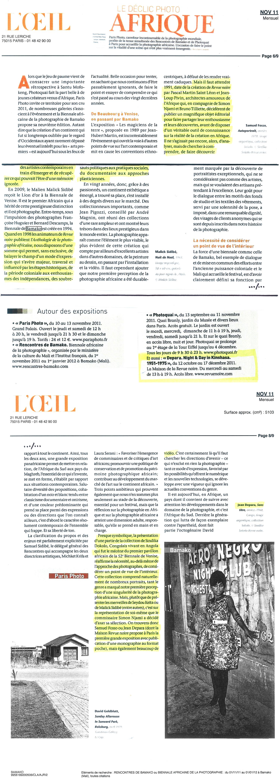 REVUE NOIRE revue de presse: L'oeil, nov 2011. Le déclic photo Afrique