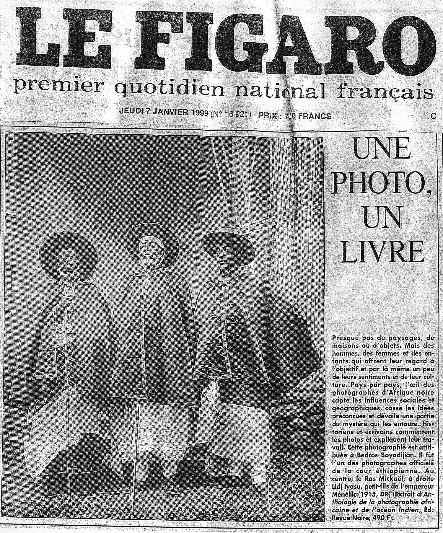 Revue de presse REVUE NOIRE: Le Figaro, janvier 1999. Une photo, un livre : archives d'Éthiopie, dans l'Anthologie de la photographie africaine.