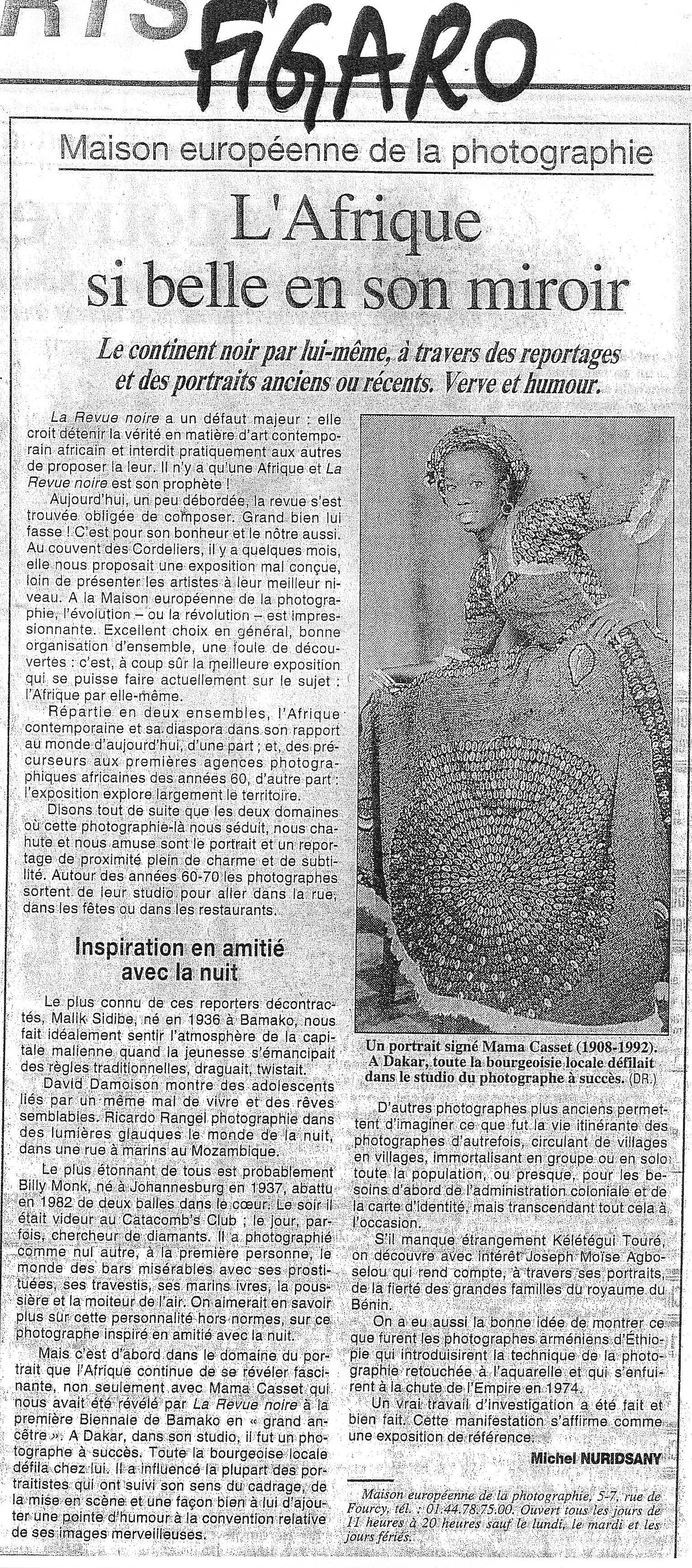 Revue de Presse: Le Figaro, mai 1998, Michel Nuridsany. L'Afrique si belle en son mirroir,