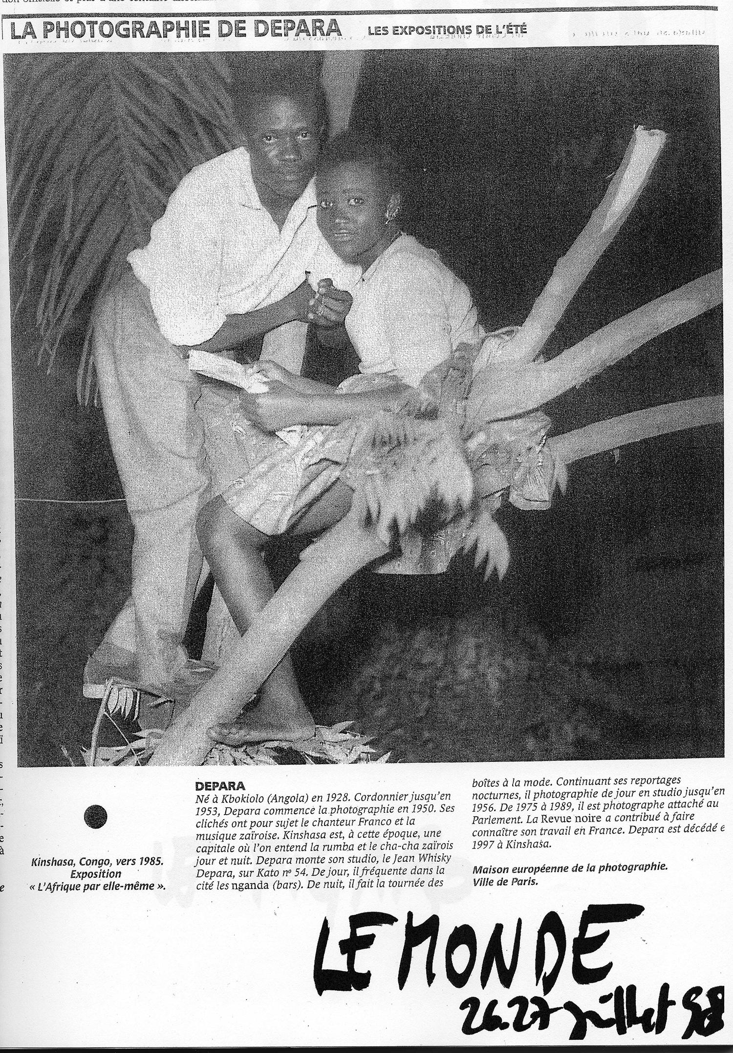 Presse REVUE NOIRE: Le Monde juillet 1998, l'expo L'Afrique par Elle-même à la MEP Paris