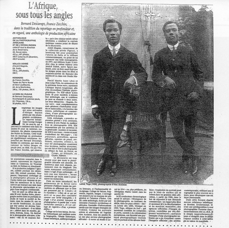 Revue de Presse REVUE NOIRE: Le Monde mai 1998 par Michel Guerrin, L'Afrique sous tous les angles, expo à la MEP Paris