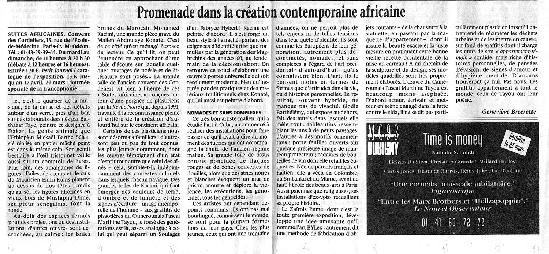 Revue de Presse REVUE NOIRE: Le Monde mars 1997 par Geneviève Breerette. Promenade dans la création contemporaine africaine, expo Suites africaines, Couvent des Cordeliers à Paris