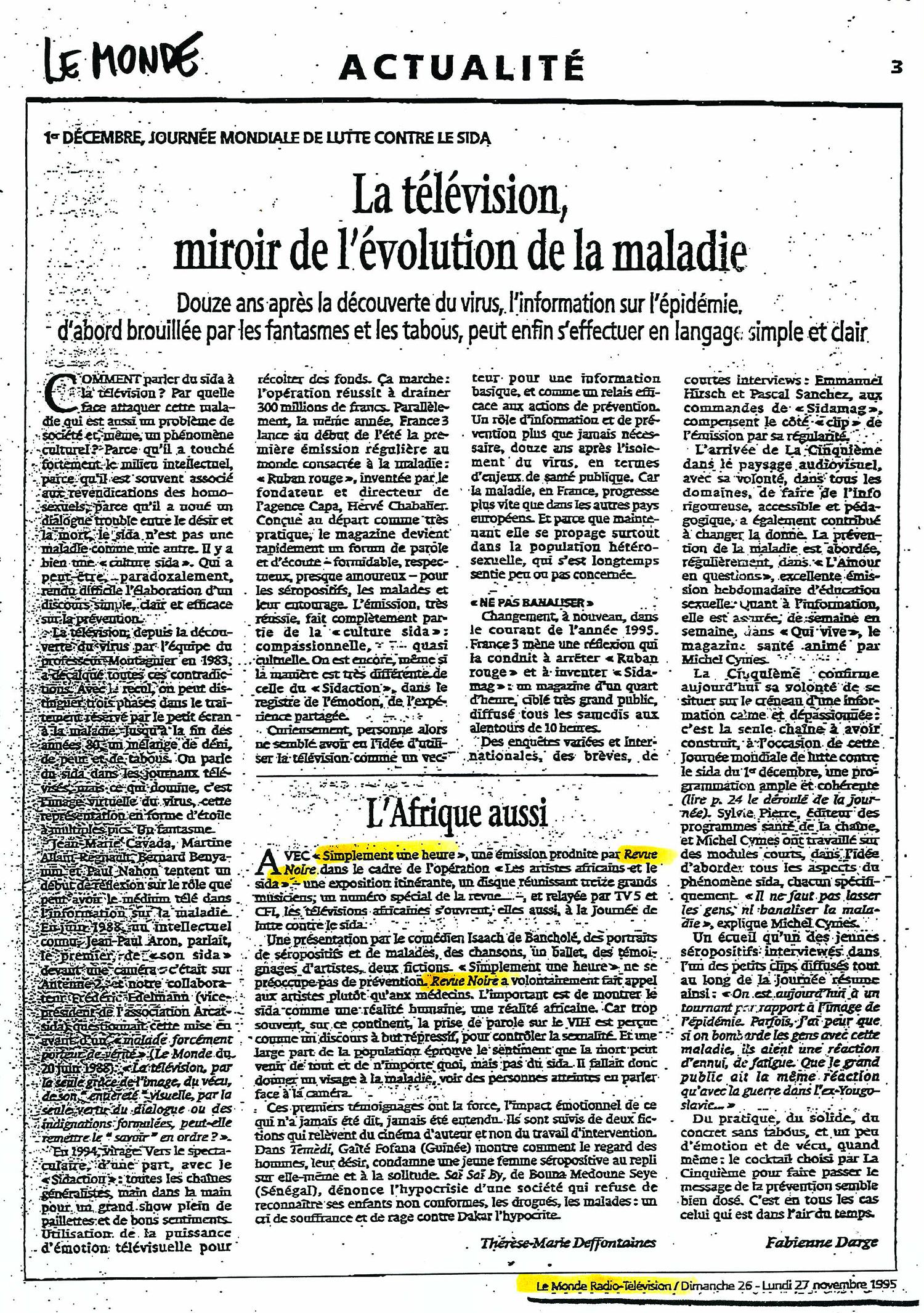 REVUE NOIRE revue de presse, Le Monde nov 1995 par Fabienne Darge. La télévision, miroir de l'évolution de la maladie, journée mondiale de lutte contre le Sida