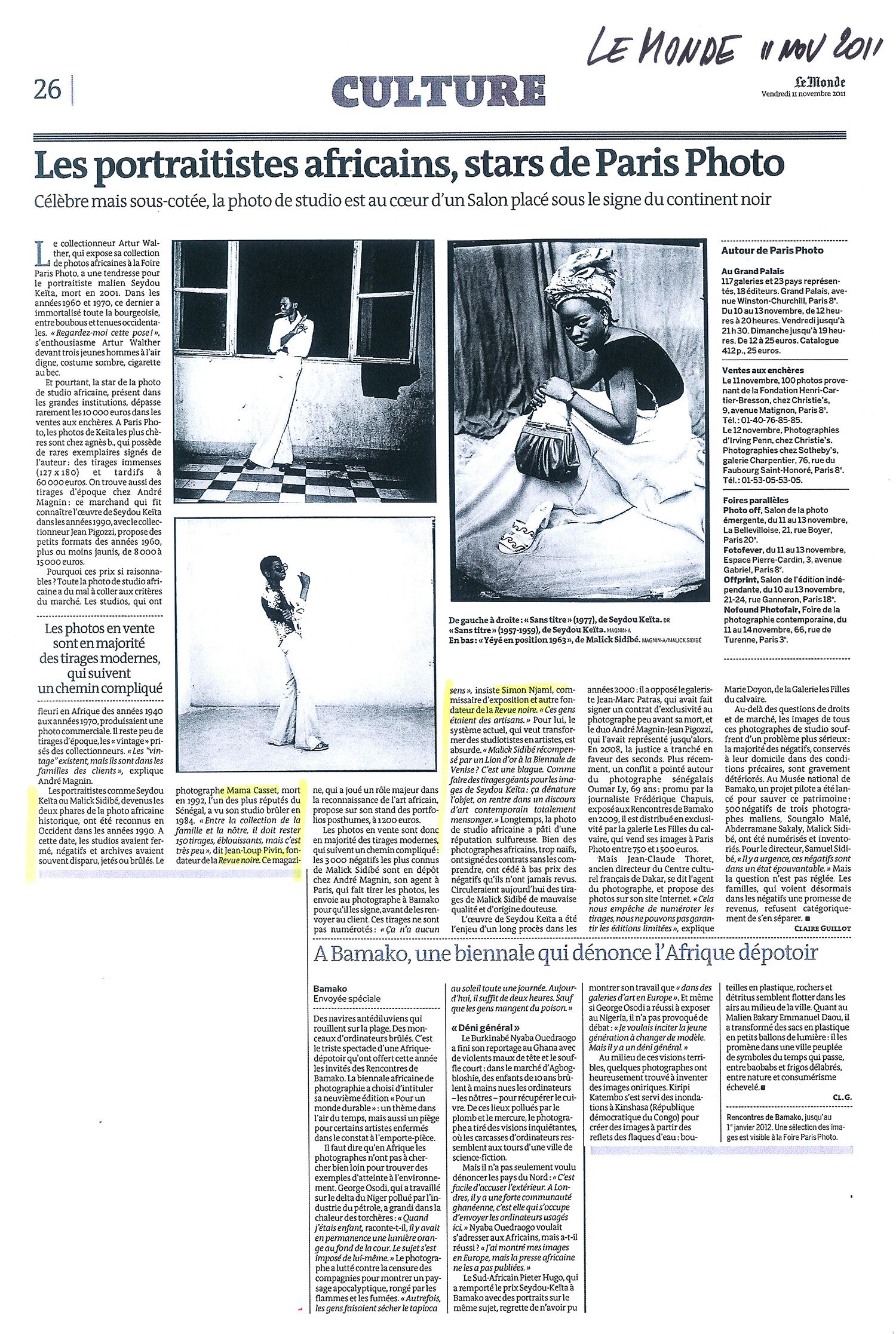 REVUE NOIRE Revue de Presse: Le Monde nov 2011 par Claire Guillot, Le salon Paris-Photo à l'heure de la photographie africaine