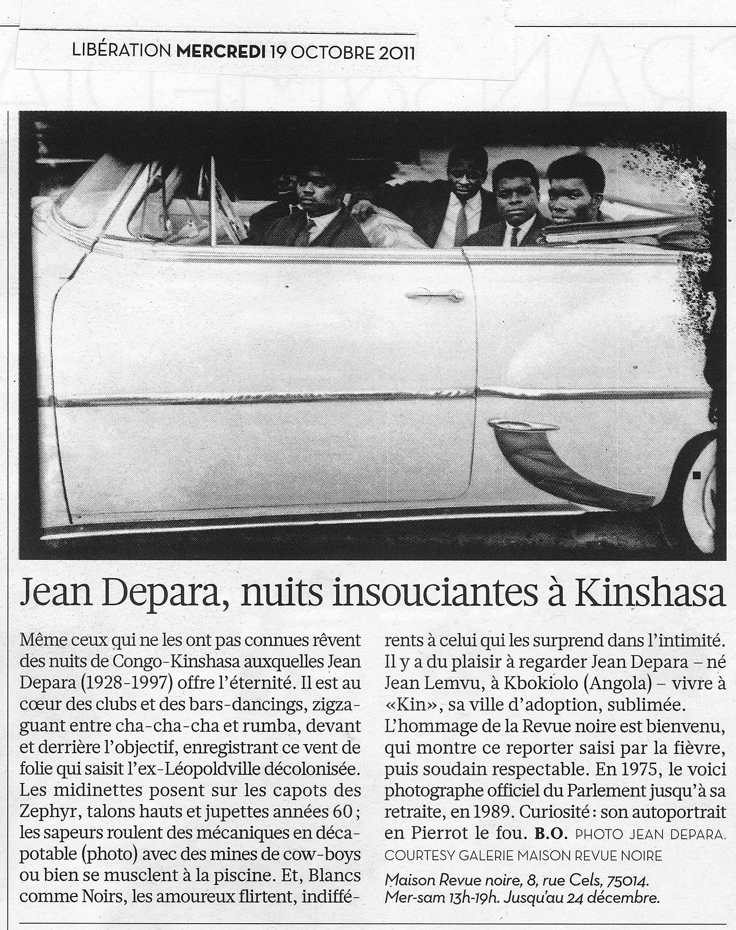 Revue Noire revue de presse: Le Monde octobre 2011, par Brigitte Olier. Jean Depara, nuits insouciantes à Kinshasa, expo Jean Depara
