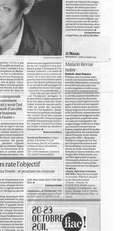 Revue Noire revue de presse Le Monde oct 2011 par Claire Guillot: Depara à la Maison Revue Noire, expo photos de Kinshasa, 1955-1965