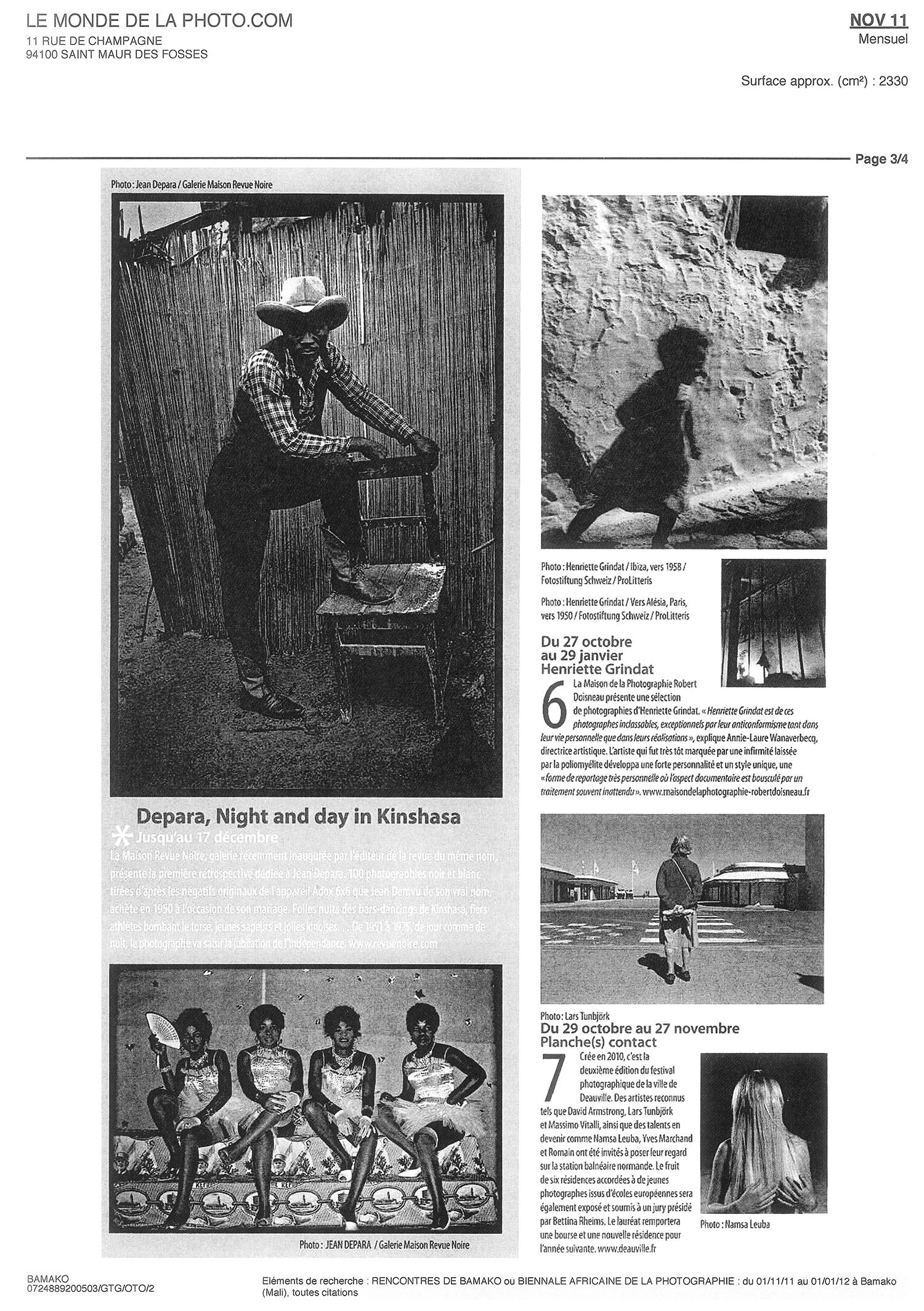 Revue Noire revue de presse, Le Monde nov 2011: Depara, Night and Day in Kinshasa, livre et expo