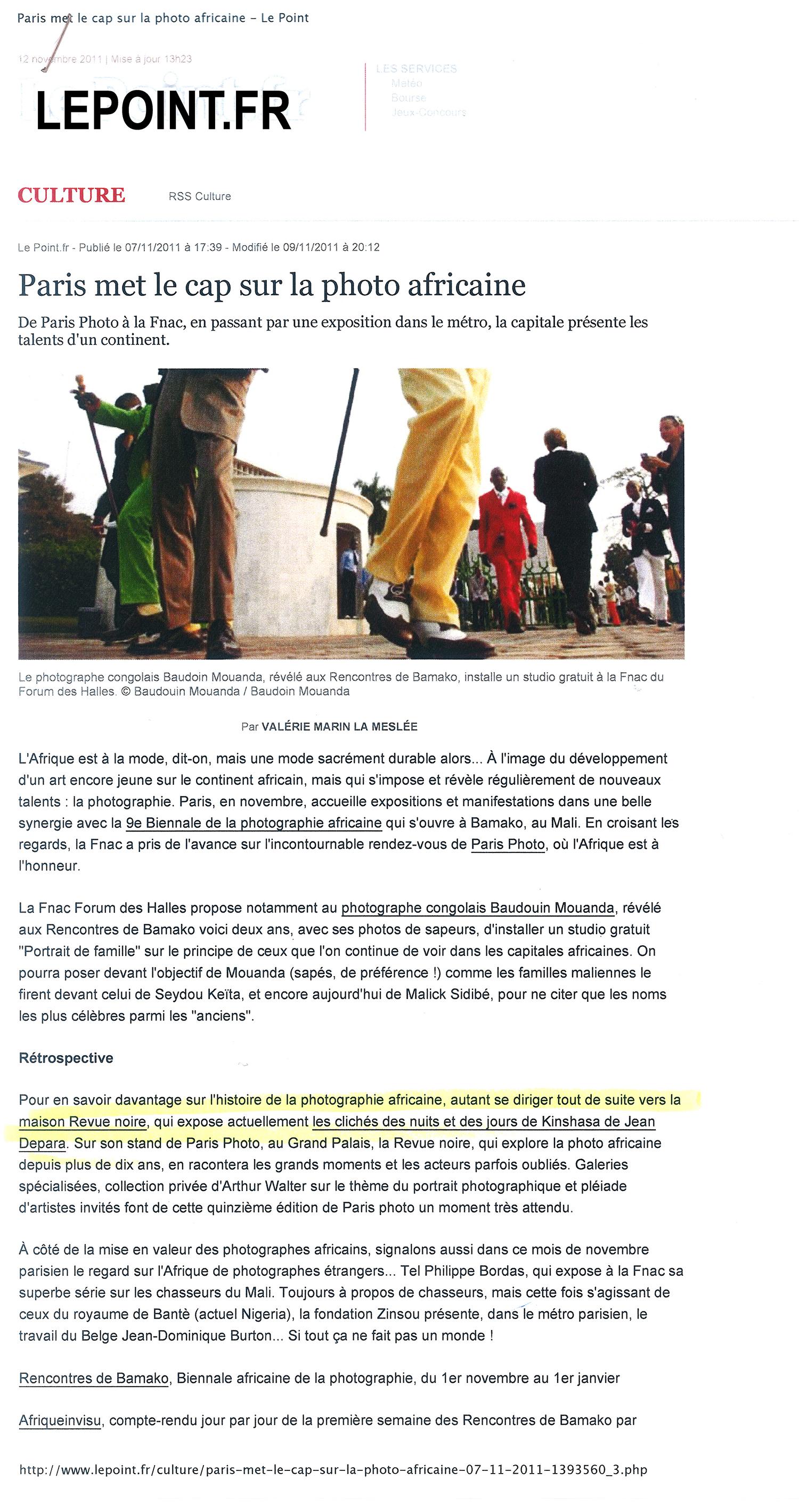 Revue Noire revue de presse, Le Point.fr : Paris Photo 2011 met le cap sur la photo africaine