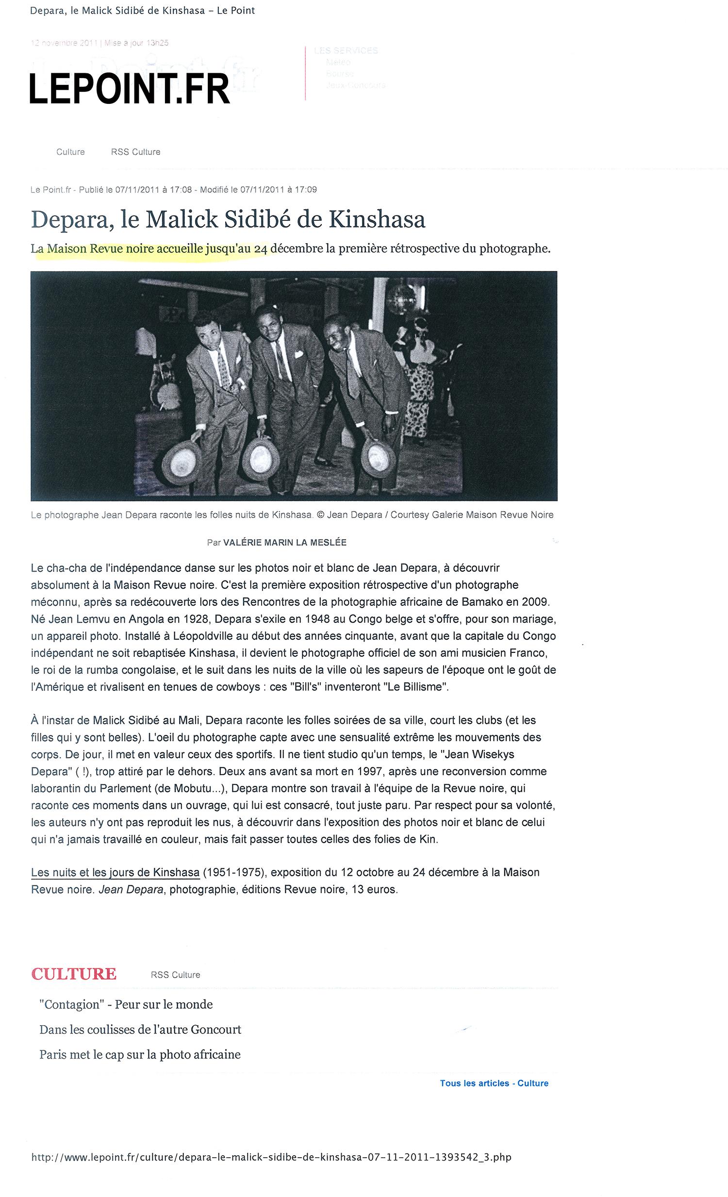 Revue Noire revue de presse Le Point.fr : Depara, le Malick Sidibé de Kinshasa, RDCongo, 1955-1965, livre et expo de Revue Noire