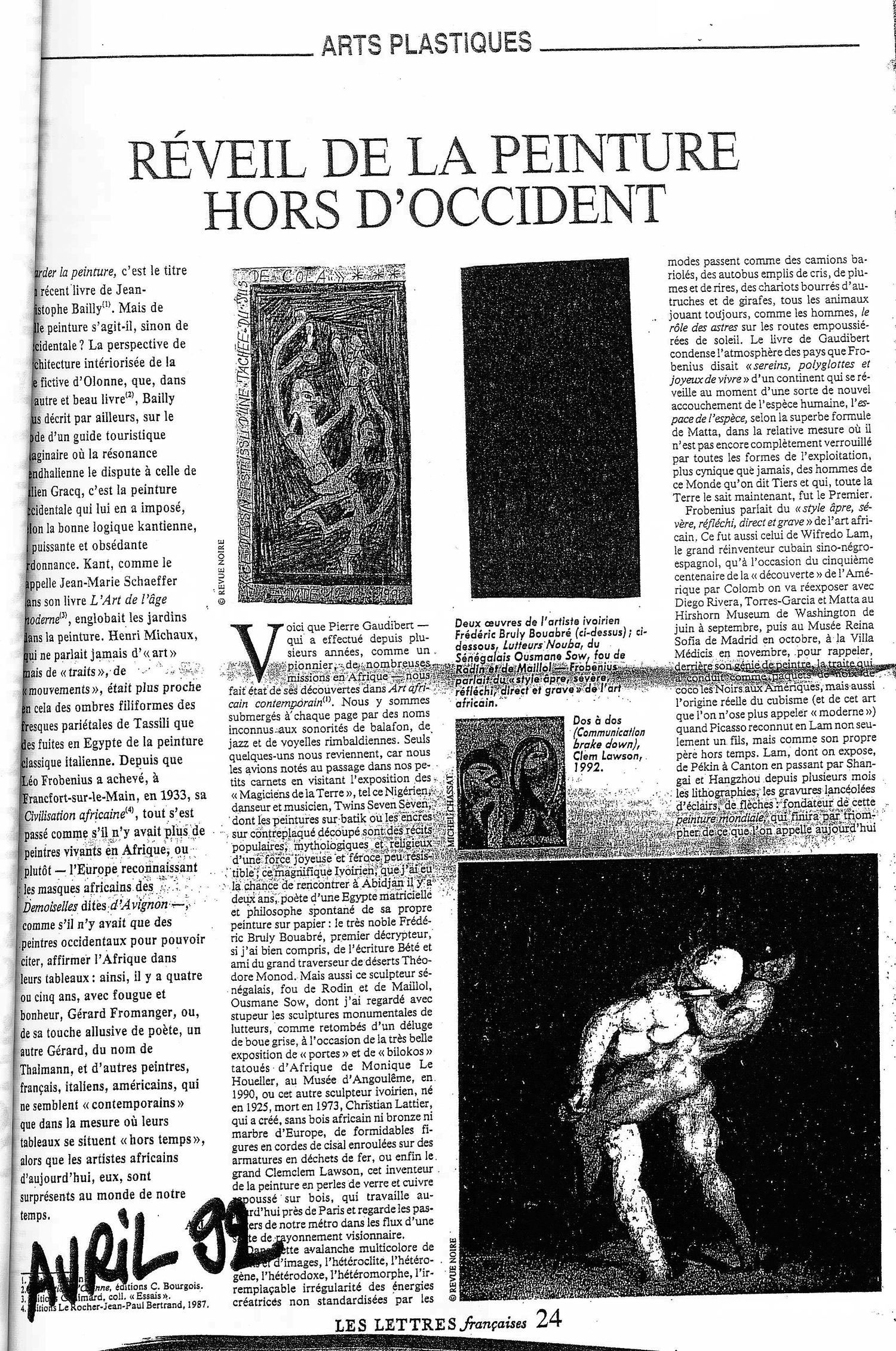 REVUE NOIRE revue de presse, Les Lettres françaises avril 1992: Réveil de la peinture hors occident. Le nouveau magazine sur la création contemporaine d'Afrique Revue Noire