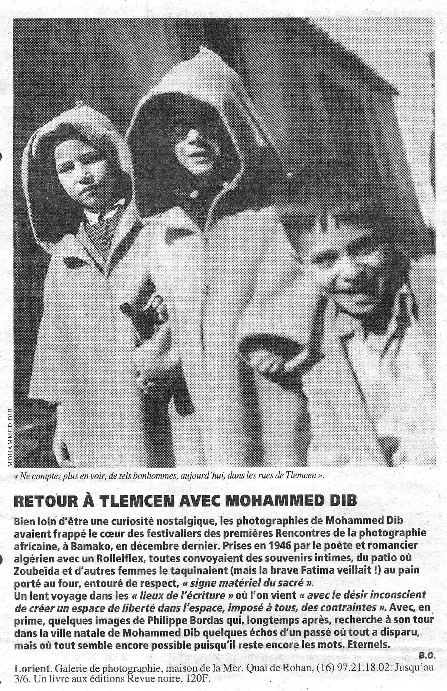 Revue Noire revue de presse: Libération avr 1995 par Brigitte Olier. Retour à Tlemcen avec Mohammed Dib. Livre et expo Revue Noire