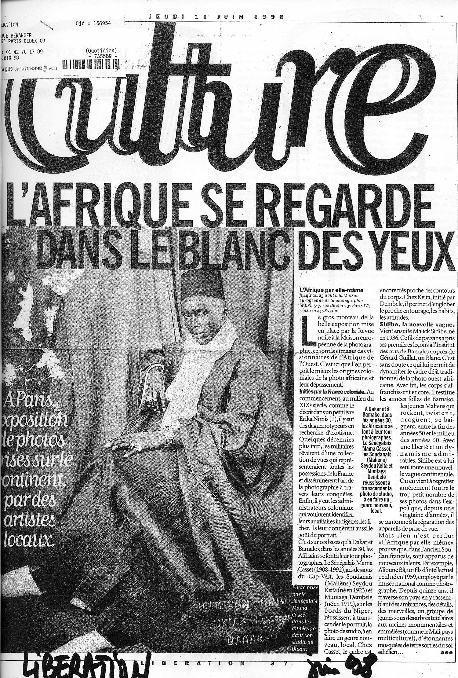 REVUE NOIRE revue de presse: Libération juin 1998 par Brigitte Olier. L'Afrique se regarde dans le blanc des yeux. L'exposition L'Afrique par Elle-même de Revue Noire, MEP de Paris