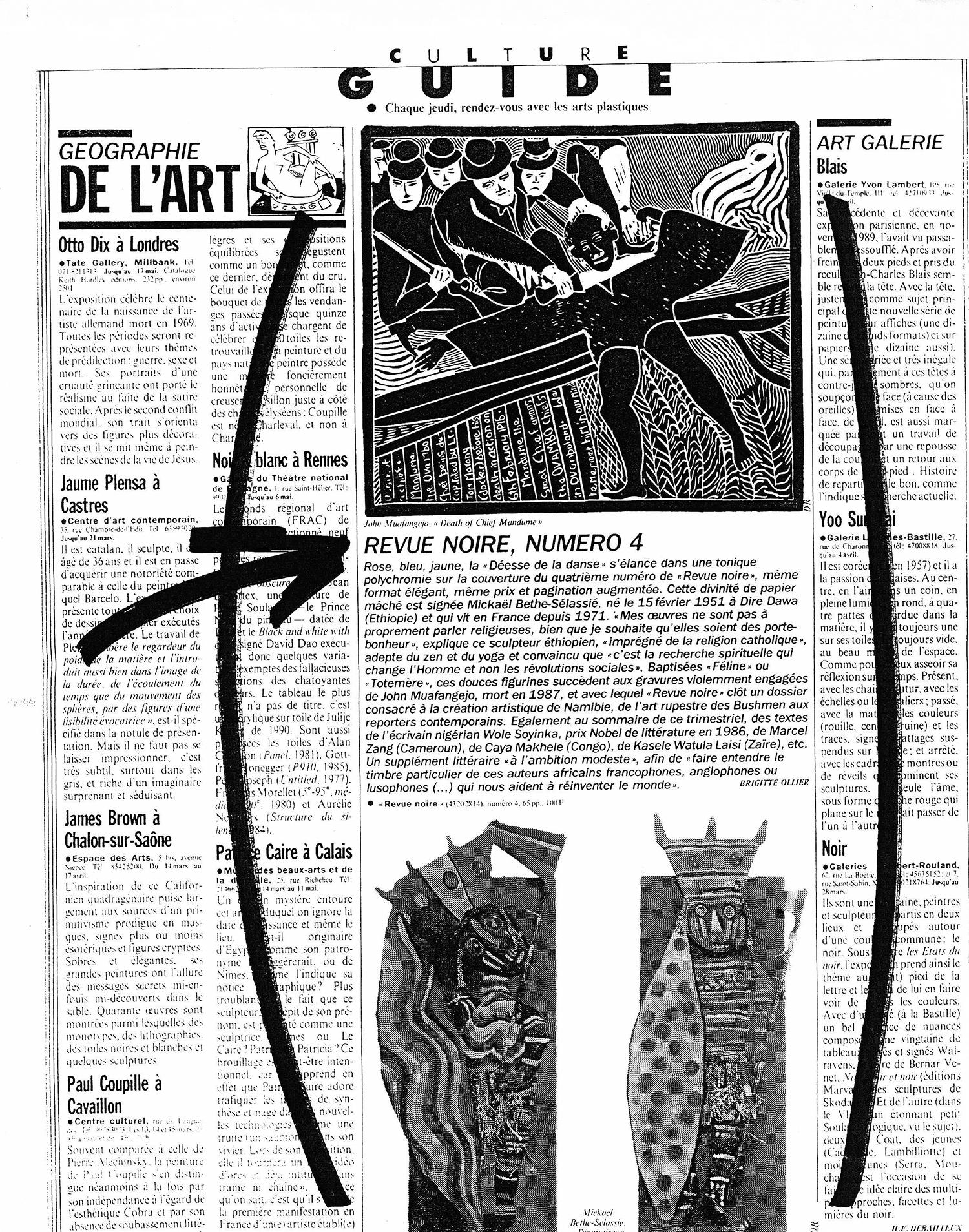 REVUE NOIRE revue de presse: Libération mars 1992 par Brigitte Ollier. Revue Noire numéro 4 namibie + Mickaël Bethe Séléassié