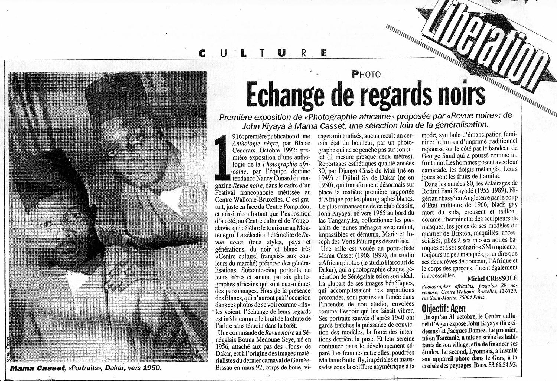 REVUE NOIRE revue de presse: Libération oct 1992 par Michel Cressole. Échange de regards noirs, première exposition à Paris de photographes africains présentée par Revue Noire