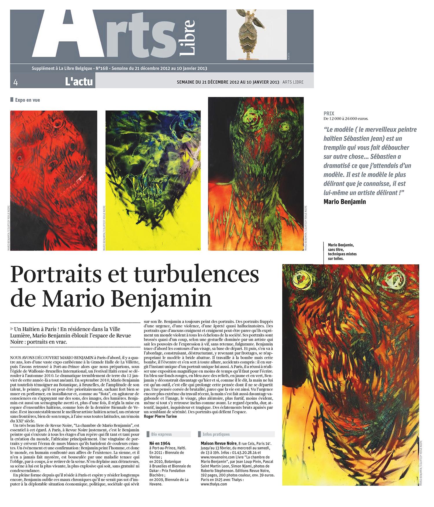 REVUE NOIRE revue de presse: Libre Belgique dec 2012 par Roger-Pierre Turine. Portraits et turbulences de Mario Benjamin. Expo à la Maison Revue Noire