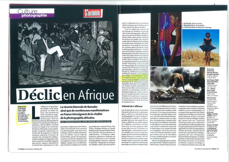 REVUE NOIRE revue de presse: Marianne, nov 2011. Le déclic en Afrique à Paris Photo. Revue Noire avec Depara, Mama Casset, Alain Polo, Joel Andrianomearisoa…