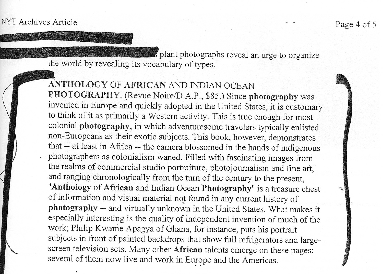 REVUE NOIRE press release: New York Times oct 1999. Anthology of African Photography, Revue Noire-DAP publishers