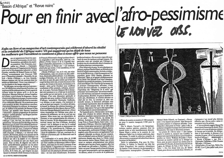 REVUE NOIRE revue de presse: Le Nouvel Observateur, aout 1992 Pour en finir avec l'Afro-pessimisme. RN 05