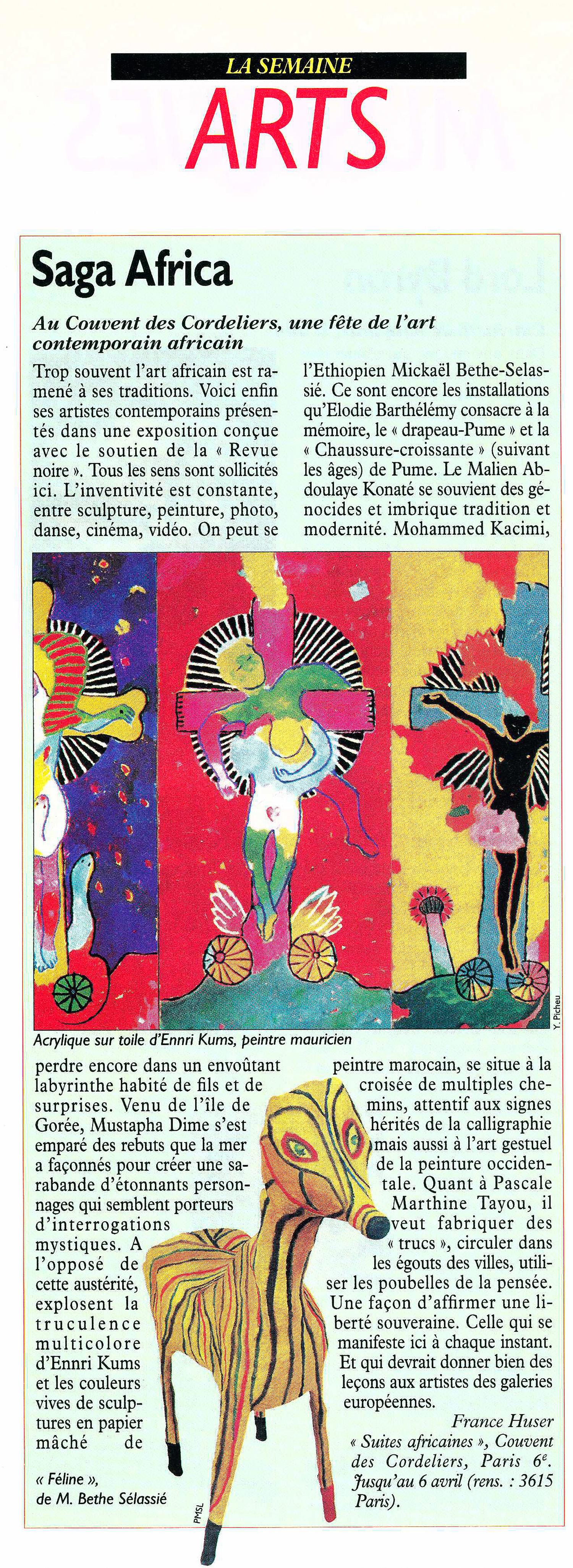 REVUE NOIRE revue de presse: Le Nouvel Observateur, mars 1997 par France Huser. Saga Africa au Couvent des Cordeliers, exposition