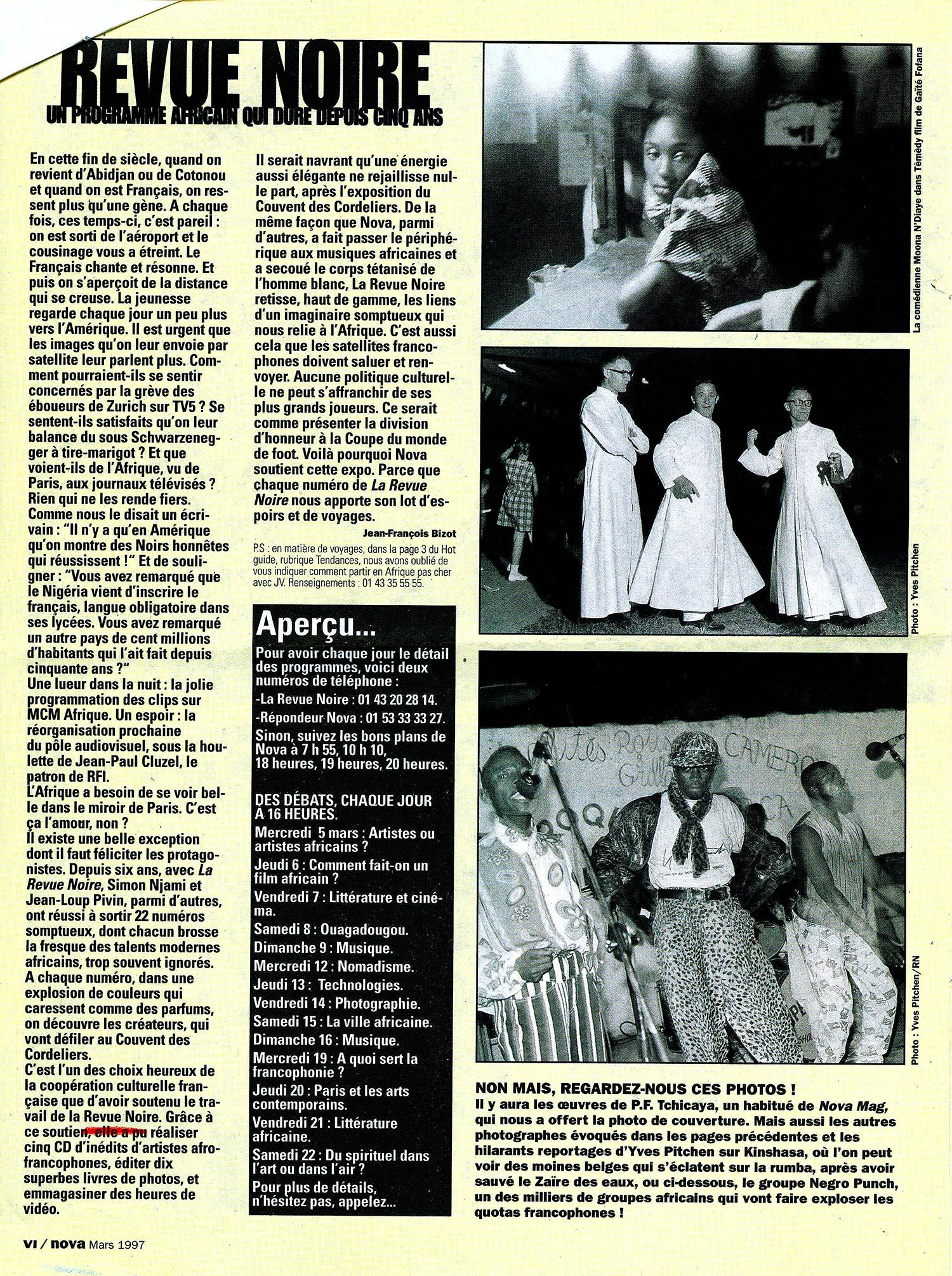 REVUE NOIRE revue de presse: mars 1997 par Jean-François Bizot. Revure Noire un programme qui dure depuis 5 ans.