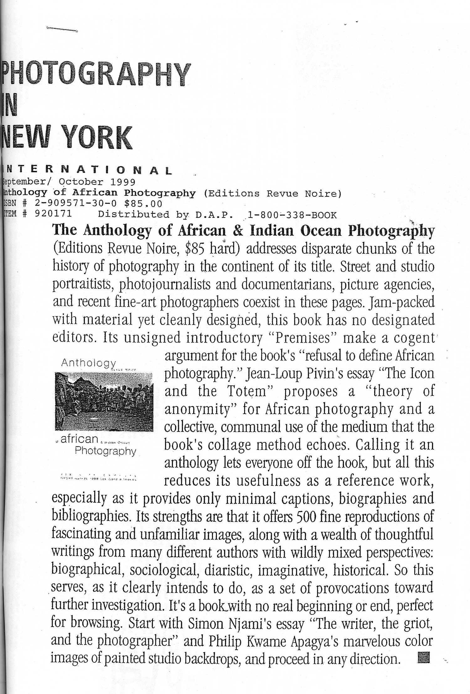 REVUE NOIRE revue de presse: Photography in New York sept 1999. Anthology of African and Indian Ocean Photography, Revue Noire et expo Afrique par Elle-même