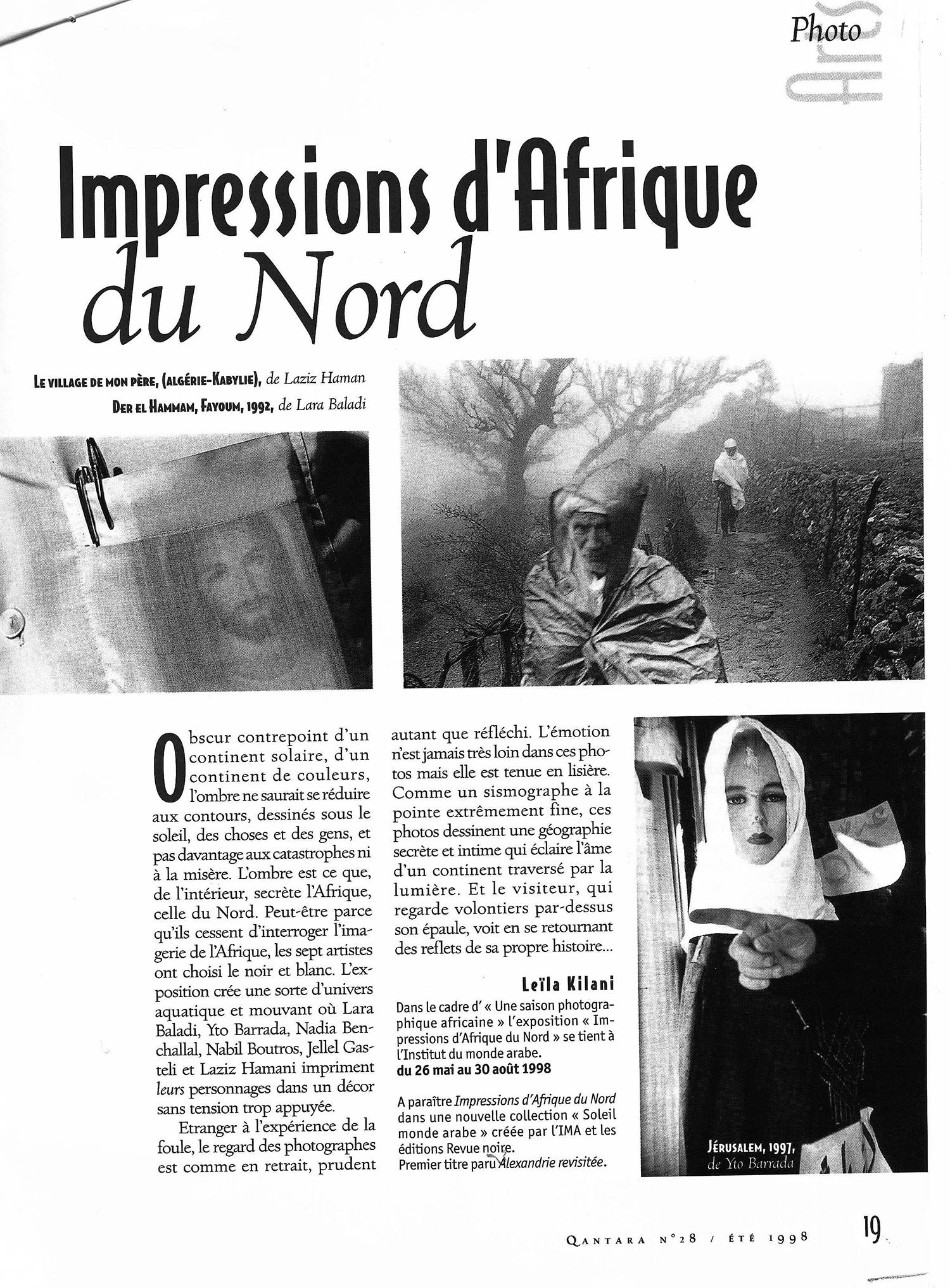 REVUE NOIRE revue de presse: Qantara juin 1998 par Leïla Kilani. Impressions d'Afrique du Nord, exposition à l'IMA et livre Revue Noire