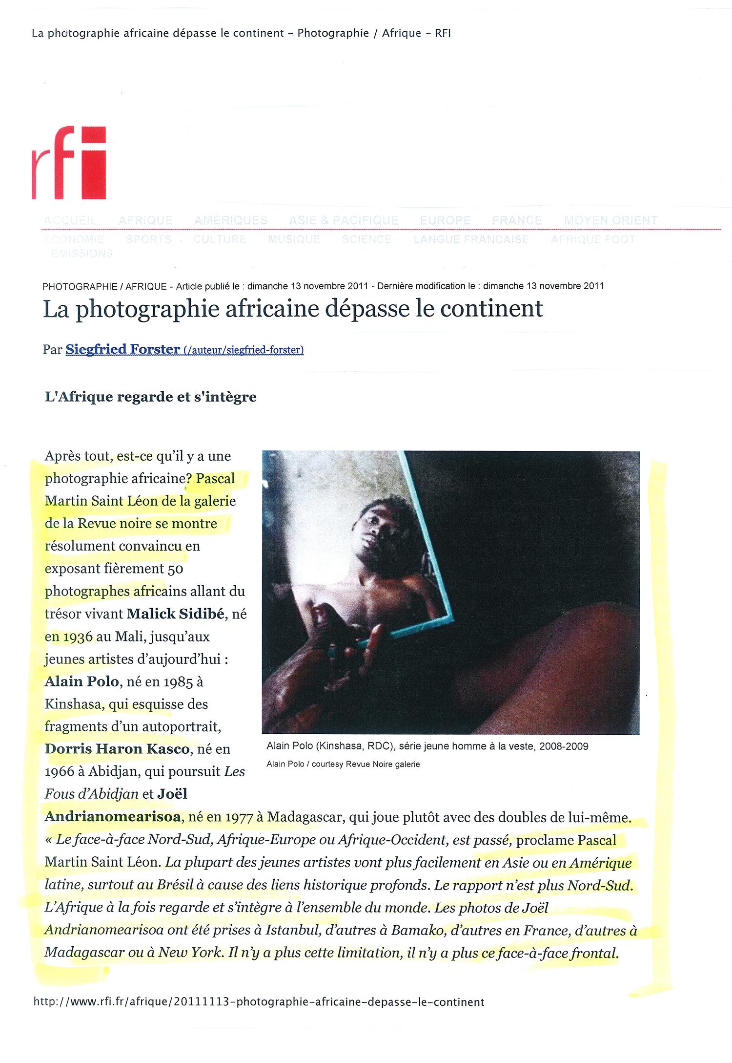 REVUE NOIRE revue de presse: RFI sept 2010 par Siegfried Forster. L'Afrique regarde et s'intègre, à propos de l'expo photo d'Alain Polo, RDCongo à la Maison Revue Noire