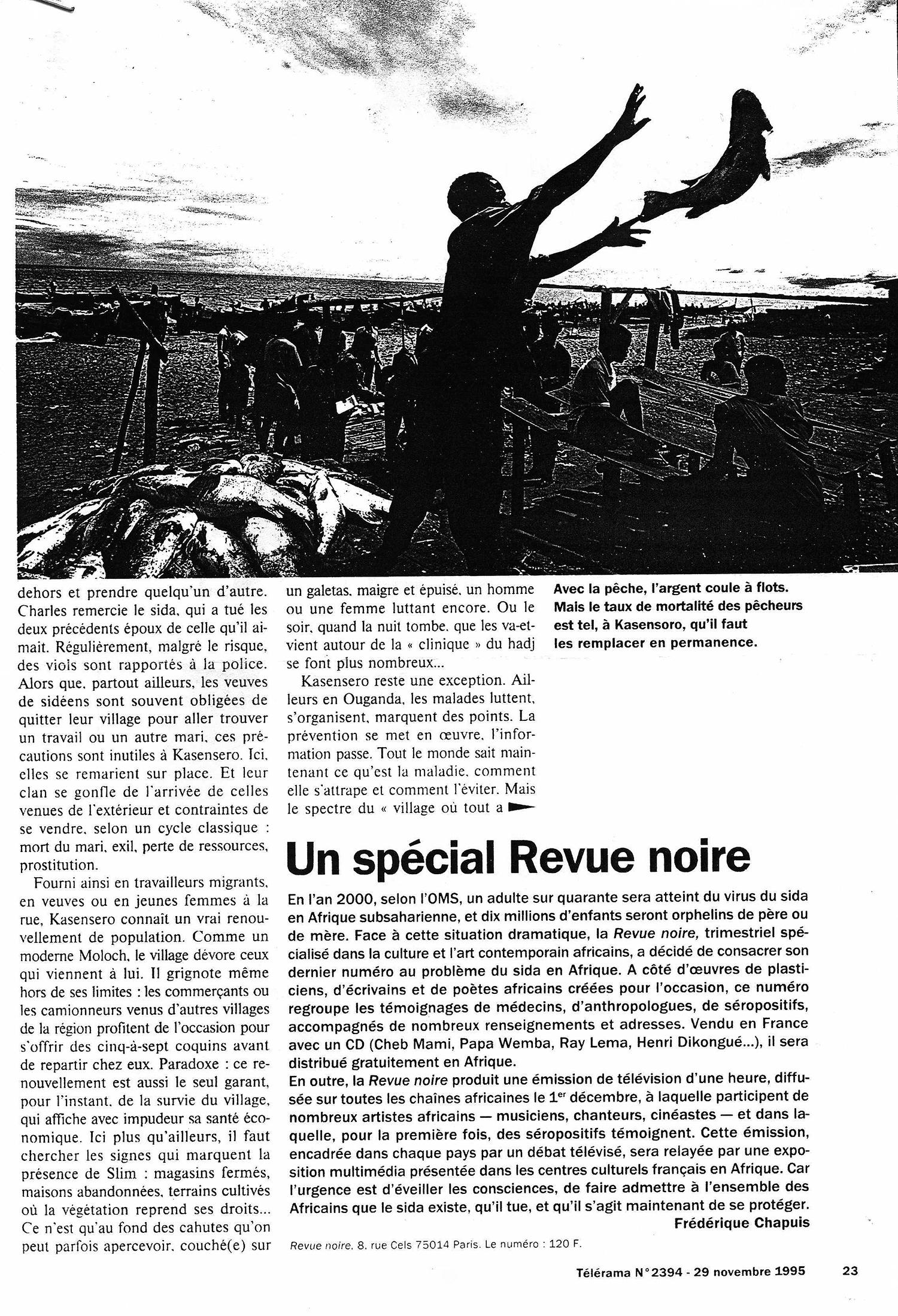 REVUE NOIRE revue de presse: Télérama nov 1995, par Frédérique Chapuis. Spécial Revue Noire RN19: Les artistes africains et le sida