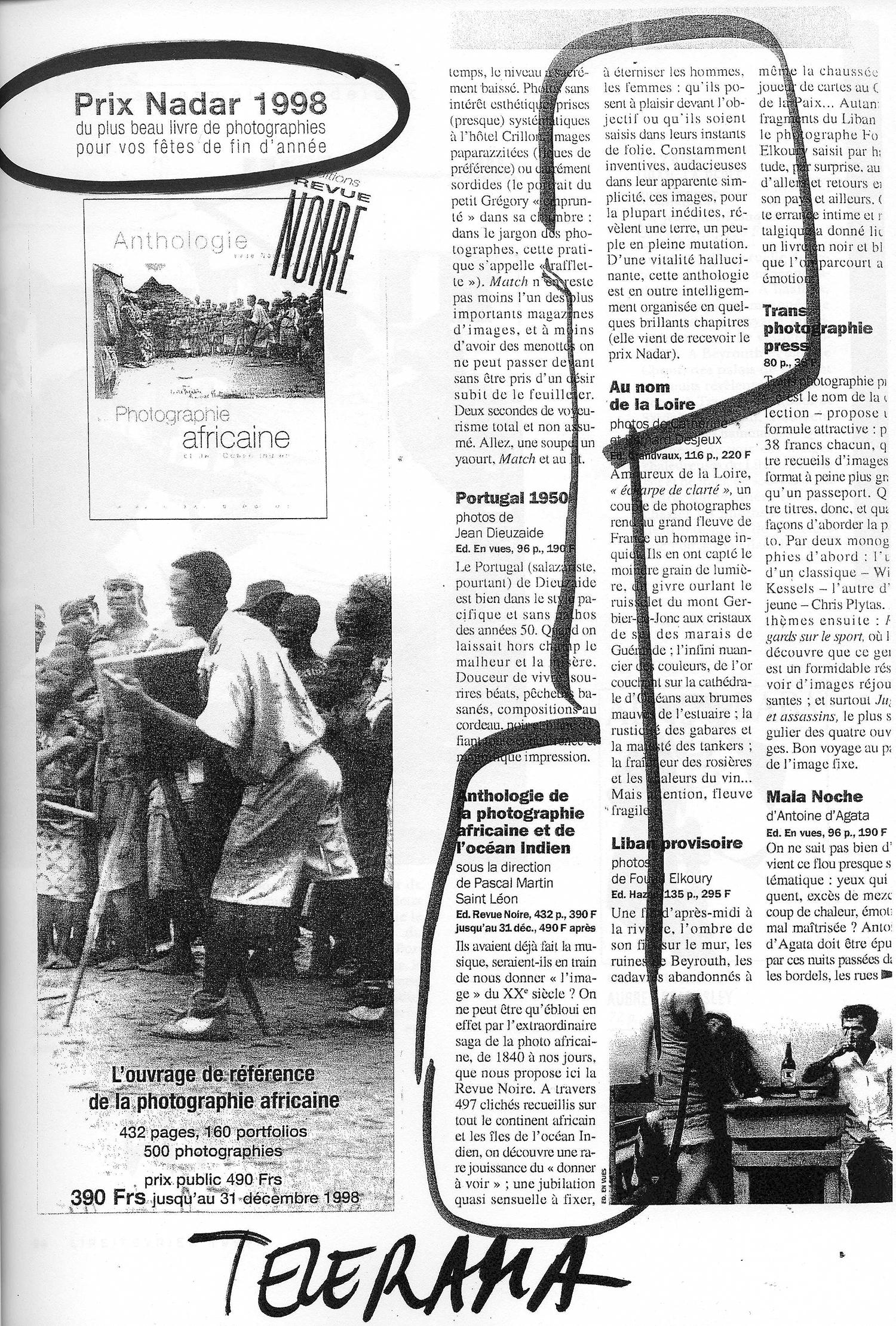 REVUE NOIRE press review: Télérama November 1998, par Frédérique Chapuis: Prix Nadar du livre photo pour l'Anthologie de la photographie africaine