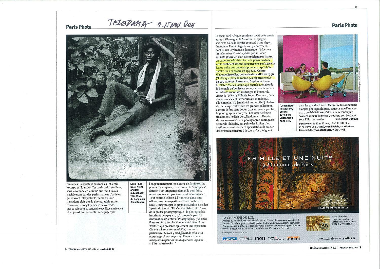 REVUE NOIRE revue de presse: Télérama nov 2011 par Frédérique Chapuis. Revue Noire à Paris Photo