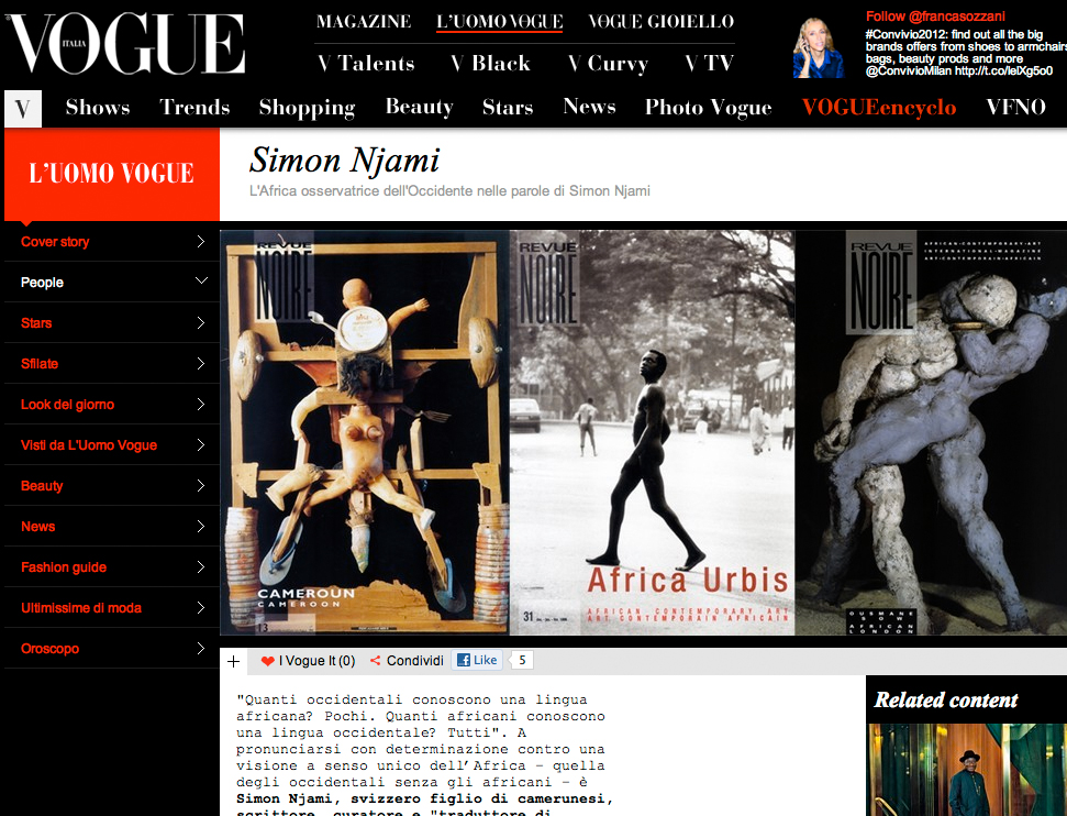 REVUE NOIRE press review: Vogue jan 2011, by Franca Sozzani: Revue Noire, 10 years of publishings and exhibits for promote African contemporary art