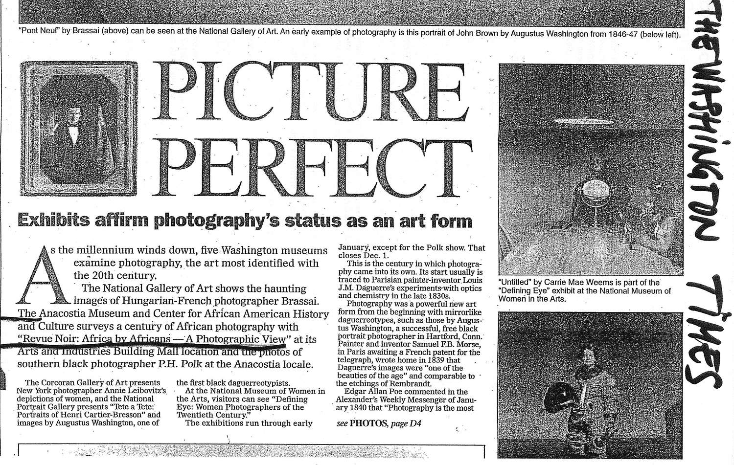 REVUE NOIRE revue de presse: Washington Times jan 2011. Picture perfect, Africa by Africans African photo exhibition in Anacostia Museum