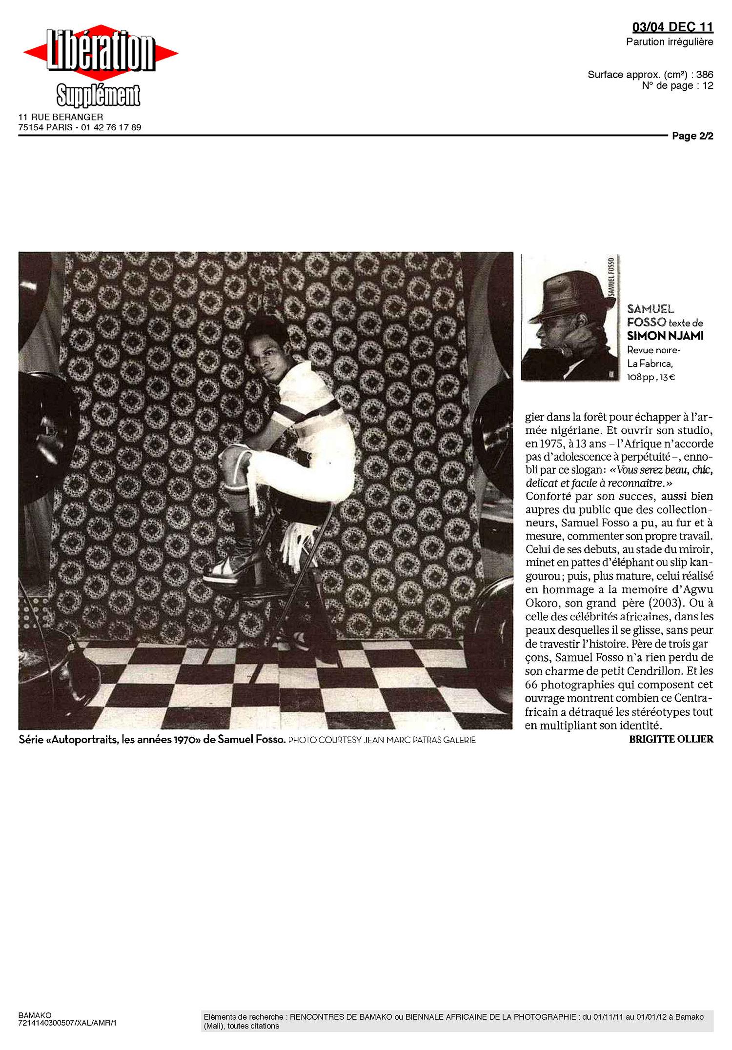 REVUE NOIRE revue de presse: Libération dec 2011 par Brigitte Ollier: Afro, dans la peau de Samuel Fosso, livre Revue Noire