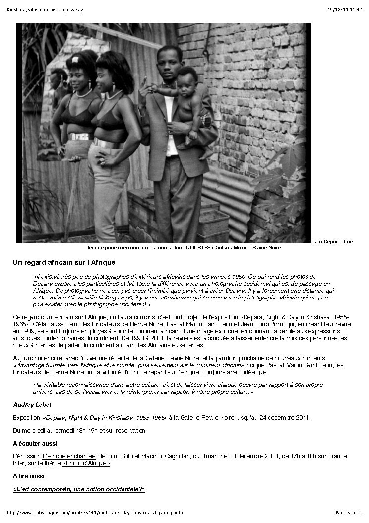 REVUE NOIRE revue de presse: Slate dec 2011 par Audrey Lebel. Kinshasa, ville branchée jours et nuits. Monographie de Jean Depara, photographe, RDCongo