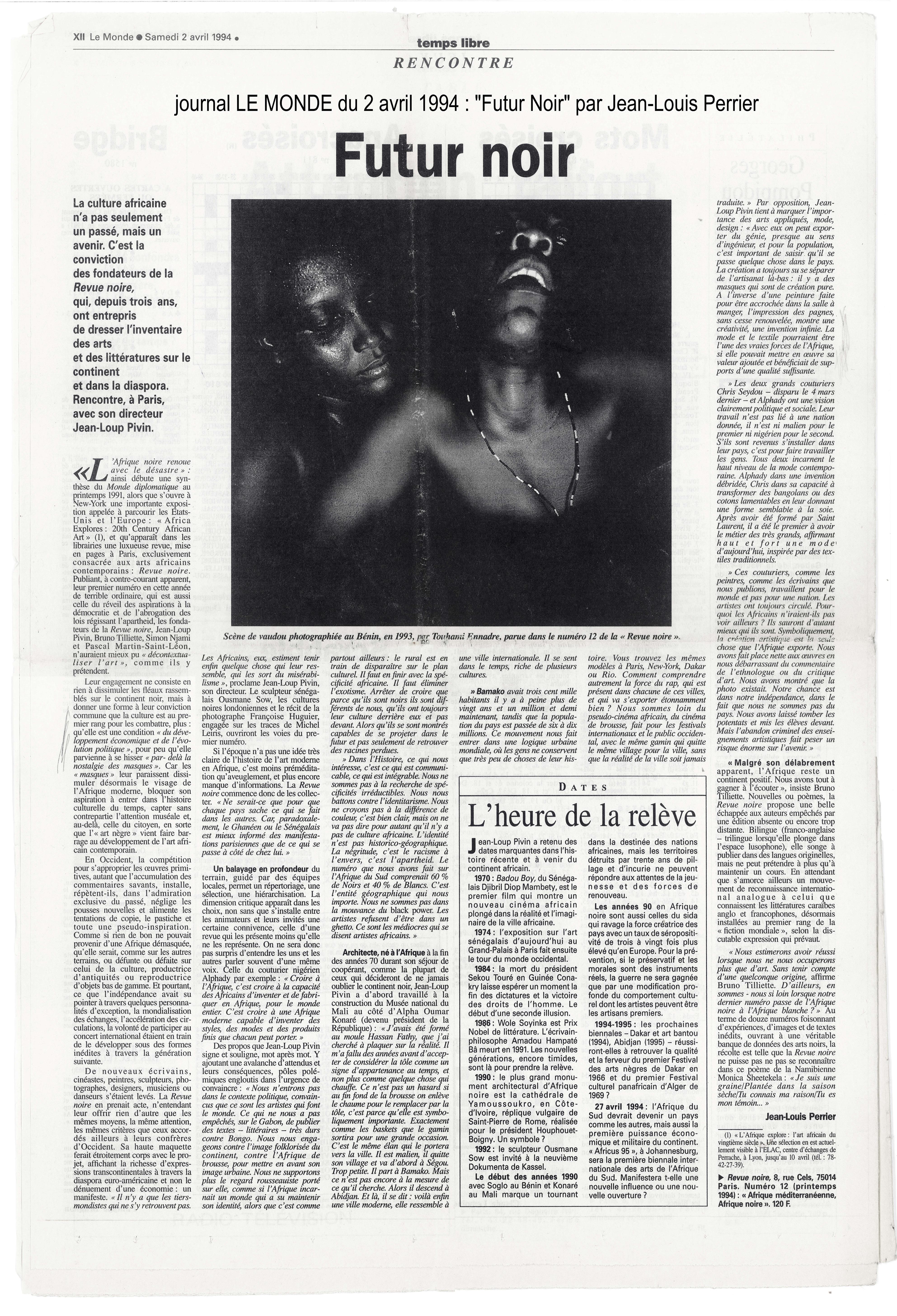 """Presse : """"Futur Noir"""" par Jean-Louis Perrier, in Le Monde, avril 1994."""