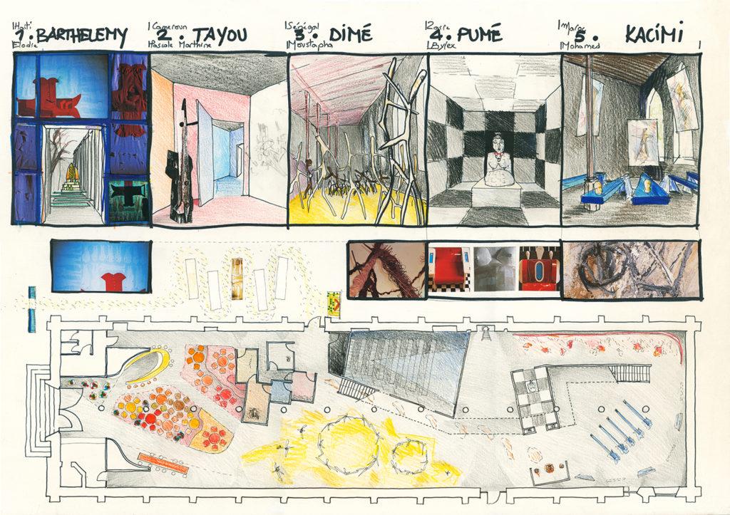 """""""Suites Africaines"""" exposition Revue Noire, Paris 1997 - Plan et croquis"""